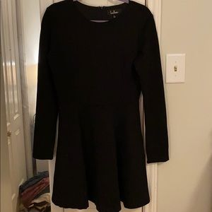 Lulu's Black Long Sleeve Skater Dress